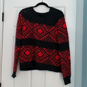Red and grey knit american eagle sweater